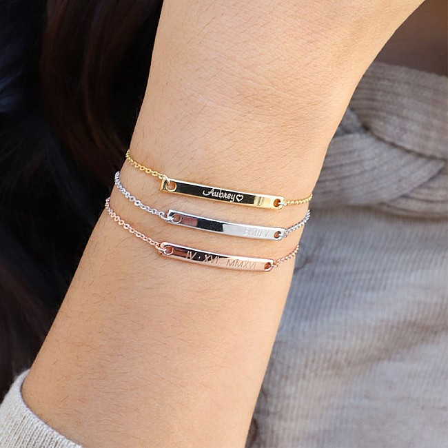 Personalized name bracelet from Gold or Platinum br1938