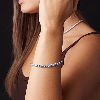 Gold tennis bracelet with Swiss Blue Topaz br224tp