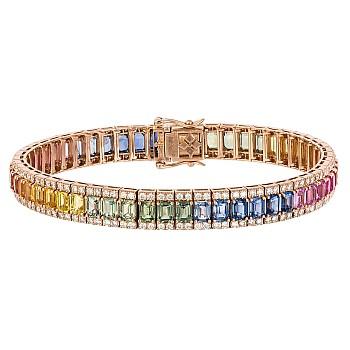 Bratara din Aur cu Safire multicolore emerald si Diamante br2258sfemdi
