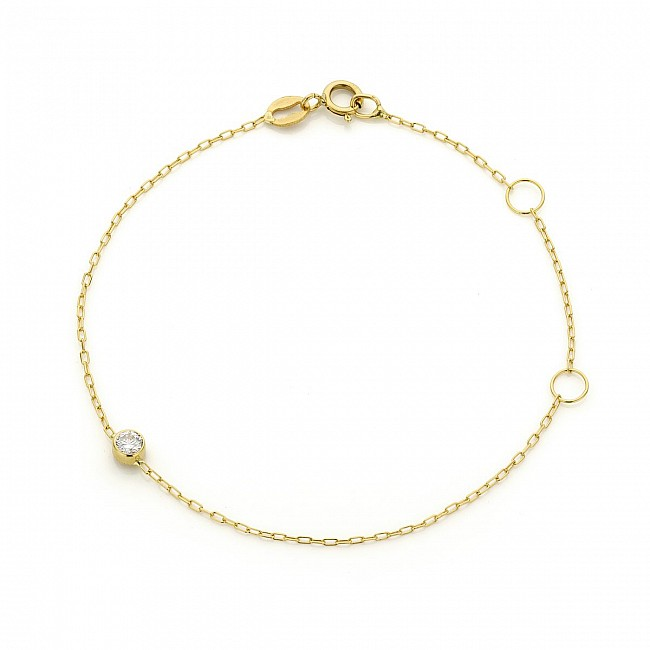 Gold bracelet with natural bezel diamond br563