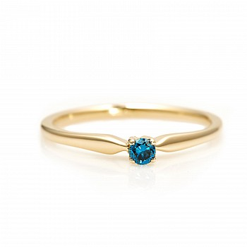 Engagement ring i004Db with Blue Diamond from Gold or Platinum