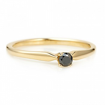 Engagement ring i004Dn with Black Diamond from Gold or Platinum