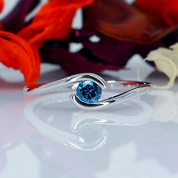 Engagement ring i005Db with Blue Diamond from Gold or Platinum