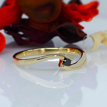 Inel de logodna i005Dn din Aur sau Platina cu Diamant Negru