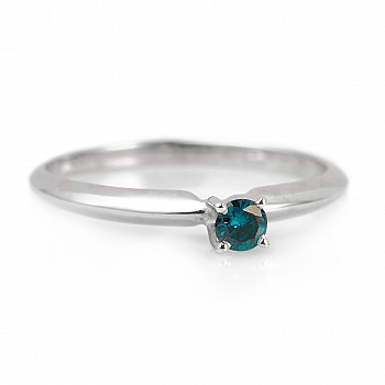 Inel de logodna clasic i007Db din Aur sau Platina cu Diamant Albastru