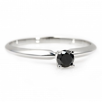 Engagement ring i007dn with Black Diamond from Gold or Platinum
