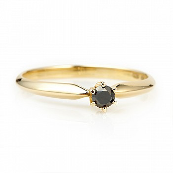 Inel de logodna i009dn din Aur sau Platina cu Diamant Negru