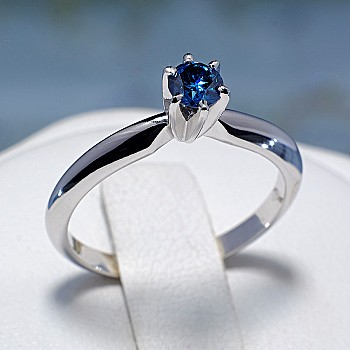 Engagement Ring i012Db with Blue Diamond from Gold or Platinum
