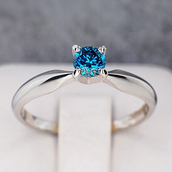 Engagement Ring i017p4DB with Blue Diamond from Gold or Platinum