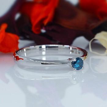 Inel de logodna i026Db din Aur sau Platina cu Diamant Albastru