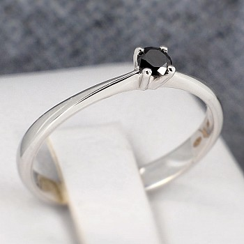 Inel de logodna i026dn din Aur sau Platina cu Diamant Negru