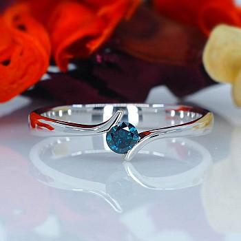Inel de logodna i060Db din Aur sau Platina cu Diamant Albastru