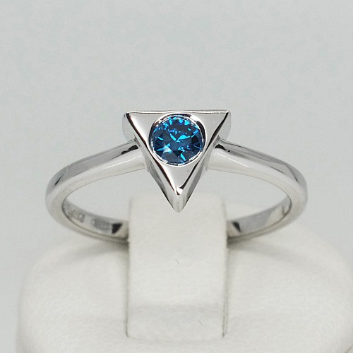 Gold or Platinum engagement ring with Blue Diamond i1128db