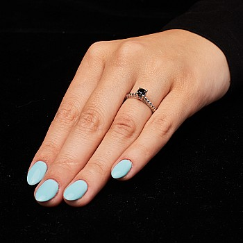 Inel de logodna sfoara i1220471Dn din Aur sau Platina cu Diamant Negru