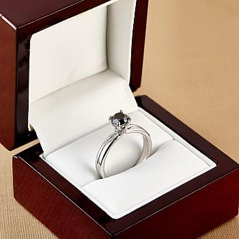 Inel de logodna i122059DnDi din Aur cu Diamant Negru si Diamante Secundare