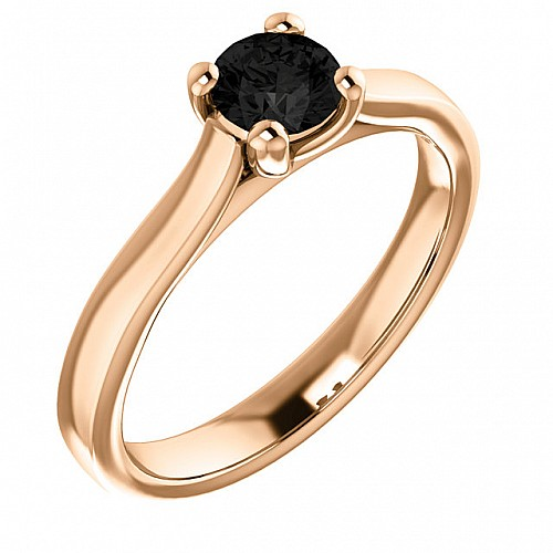 Gold engagement ring with 0.33ct Black Diamond 122100Dn