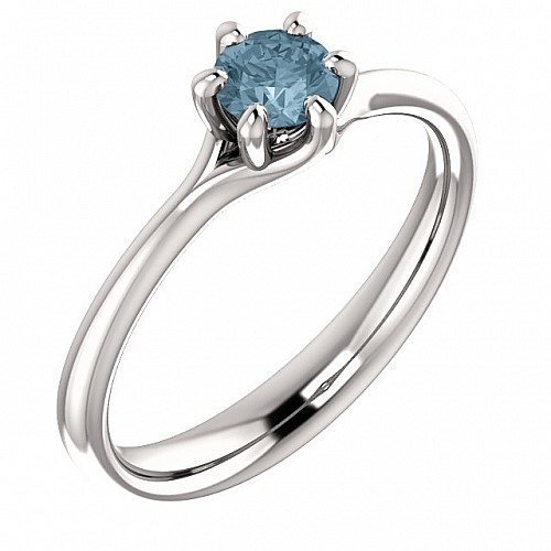 Gold or Platinum engagement ring with Blue Diamond 122118DB