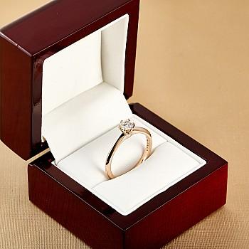 Inel de logodna model Tiffany i168 din Aur Roz cu Diamant