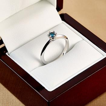 Inel de logodna model Tiffany i168DB din Aur sau Platina cu Diamant Albastru