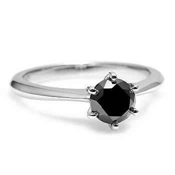 Inel de logodna i168dn model Tiffany din Aur sau Platina cu Diamant Negru
