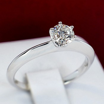 Classical Engagement Ring p1906 with Diamond from Platinum - GIA