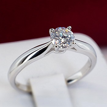 Engagement Ring p1907 with Diamond from Platinum - GIA