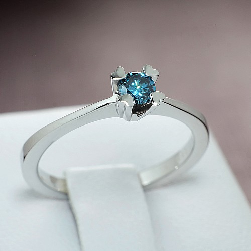 Gold or Platinum engagement ring with Blue Diamond i513Db