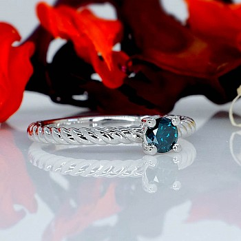 Inel de logodna i71626DB din Aur sau Platina cu Diamant Albastru