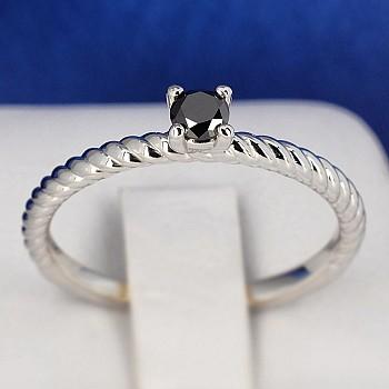 Inel de logodna i71626dn din Aur sau Platina cu Diamant Negru