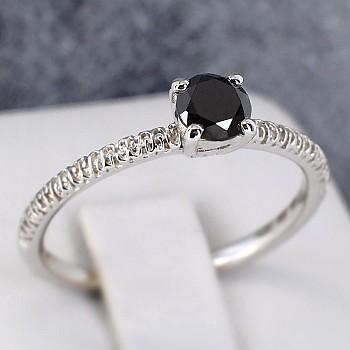 Inel de logodna i71648DN din Aur sau Platina cu Diamant Negru