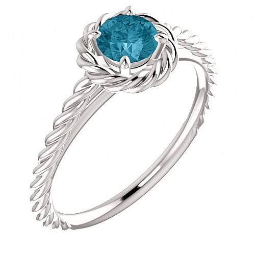 Gold or Platinum engagement ring with Blue Diamond 71837Db