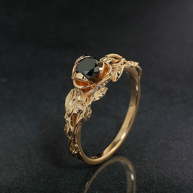 Forest Design Engagement Ring i764dn from Gold or Platinum with Black Diamond