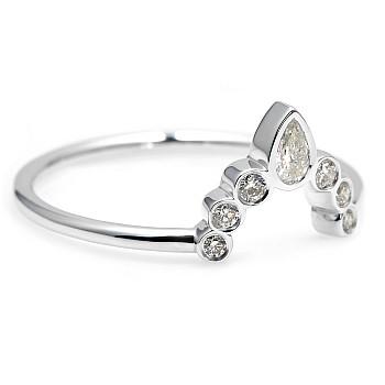 Inel Trendy s237 din Aur cu Diamant Para si Diamante Secundare