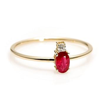 Inel Trendy s066 din Aur cu Rubin si Diamante