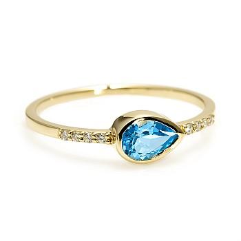Inel Cadou s082Tpswdi din Aur sau Platina cu Topaz Swiss Blue si Diamante