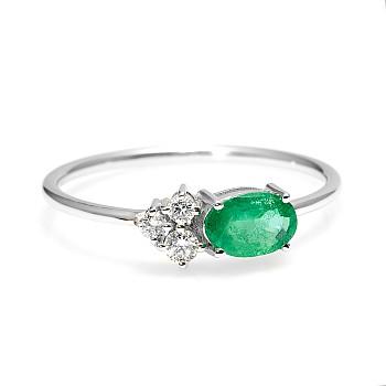 Inel Trendy s087 din Aur sau Platina cu Diamante si Smarald