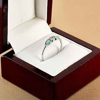 Inel Trendy s088 din Aur sau Platina cu Diamant si Smaralde