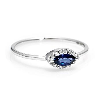 Inel Trendy s100 din Aur sau Platina cu Safir Oval si Diamante