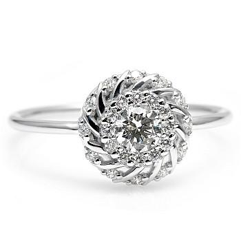 Inel Trendy s224 din Aur cu Diamant si Diamante Secundare