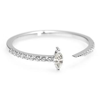 Inel Trendy s232 din Aur cu Diamant Marquise si Diamante Secundare