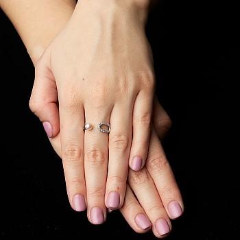 Inel Trendy s282 din Aur cu Perla si Diamante Naturale