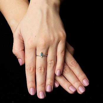 Inel Trendy s294 din Aur cu Smarald Para si Diamant Natural