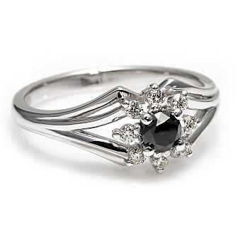 Inel de logodna p006DnDi din Platina cu Diamant Negru si Diamante