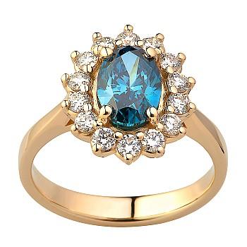Inel de logodna i055Dbovdi Kate Middleton din Aur sau Platina cu Diamant Albastru si Diamante Incoloare