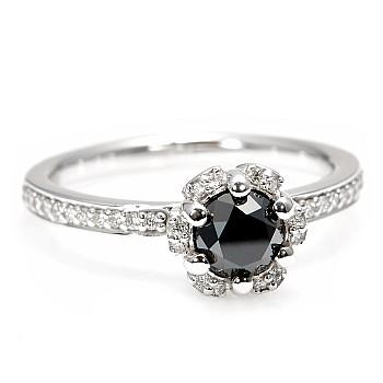 Inel de logodna i121997DnDi din Aur sau Platina cu Diamant Negru si Diamante