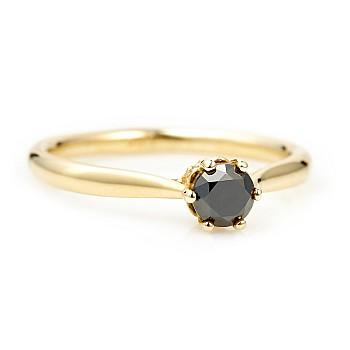 Inel de logodna i122995dndi din Aur cu Diamant Negru si Diamante Secundare