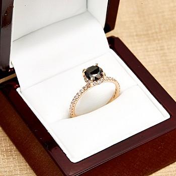 Inel de logodna i164dndi din Aur sau Platina cu Diamant Negru si Diamante