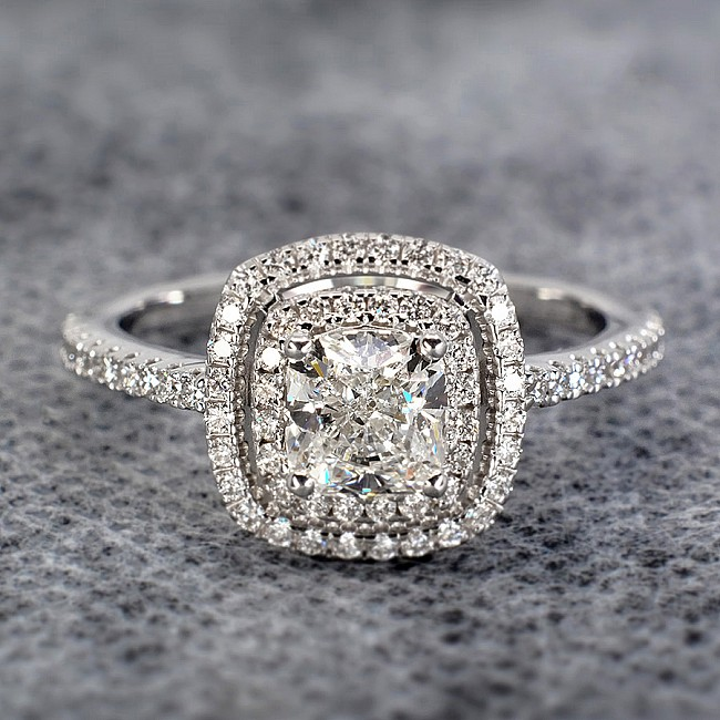 Gold or Platinum engagement ring with Cushion cut Diamond i1903DchDi- Signature