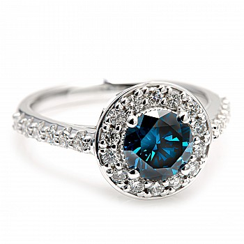 Gold ring with 1.00ct Blue Diamond and secondary Diamonds i2159DbDi