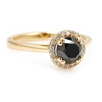 Inel de logodna i030DnDi din Aur sau Platina cu Diamant Negru si Diamante